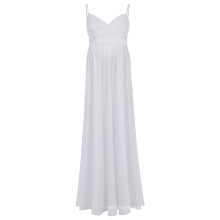 Kate Kasin Sexy Womens Comfortable Spaghetti Straps V-Neck White Maxi Maternity Dress KK000674-2