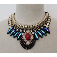 Senhora frisada cristal moda colar gargantilha traje (je0013)