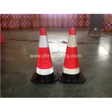 High quality rubber traffic cone road safety cone with reflective tape used on the crossing of road ways