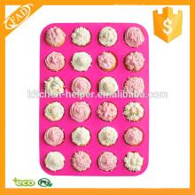Fabricante de muffin flexível de silicone mini 24 xícara