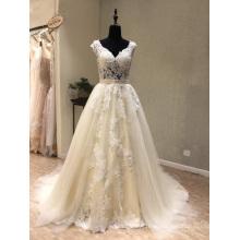 Сшитое Кружева Бусины Свадебное Платье Беременные Свадебное