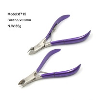 Precision Stainless Steel Blue Plating 1/2 Jaw Cuticle Nipper With Single Spring