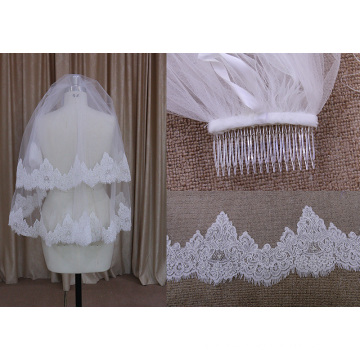 Beaded Two Layers Veils with Comb