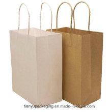 El logotipo de encargo imprimió el bolso de papel de las compras del regalo del arte de Brown