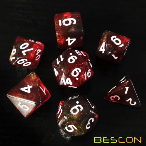 Bescon New Moonstone Dice Maroon, Polyhedral Dice Set of 7