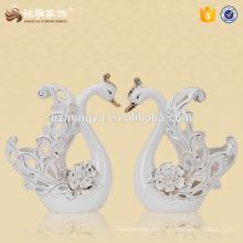 Factory price home decoration ceramic swan figurine custom luxury swan statue