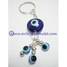Custom  blue evil eye beads key chain