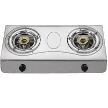 Cuisinière à gaz à double brûleur en acier inoxydable, cuisinière à gaz