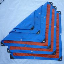 прочный брезентовый брезент синего цвета с усиленными проушинами