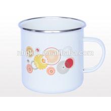 min enamel mug with steel handle and pp lid