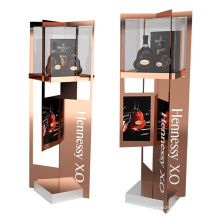 high quality designer metal gold shopping mall brand display stand wine rack floor display stand