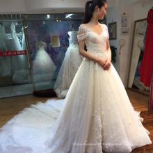 Flor lindo fora do ombro longo trem meninas vestido de noiva nupcial da china