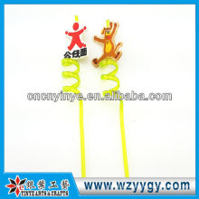 3D Pvc plastic drinking straw with rubber charm