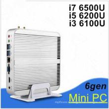 ПК barebone Миниый видео 4K сердечника i3 6100u с Windows 10 HDMI и VGA Безвентиляторный ПК Intel графики 520 до 1 ГГц