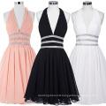 Starzz Deep V-Neck Halter Pink Chiffon Beaded Backless Short Bridesmaid Dress ST000088-1