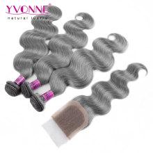 Color Grey Brazilian Body Wave Hair Bundles with Lace Closure