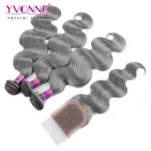 Цвет Серый Бразильский объемная волна волос пучки с закрытием кружева