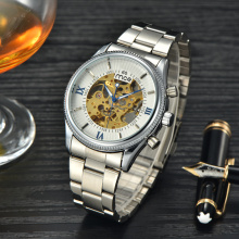 vente en gros custom made crystals skeleton mens watch