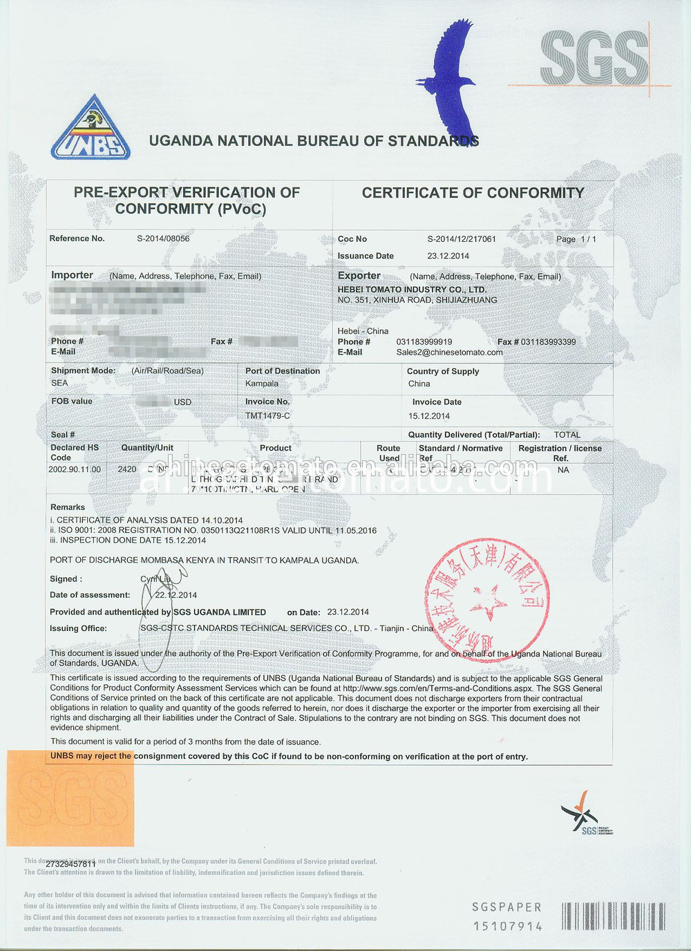 Tomato Paste with SGS certificates