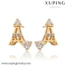 91129-Xuping Trendy Eiffel Tower Design Pendientes de cristal de aleación de oro