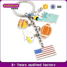 Vente en gros Metal Silver Enamel Custom Country USA Drapeau Charms Keychain