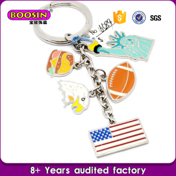 Wholesale Metal Silver Enamel Custom Country USA Flag Charms Keychain