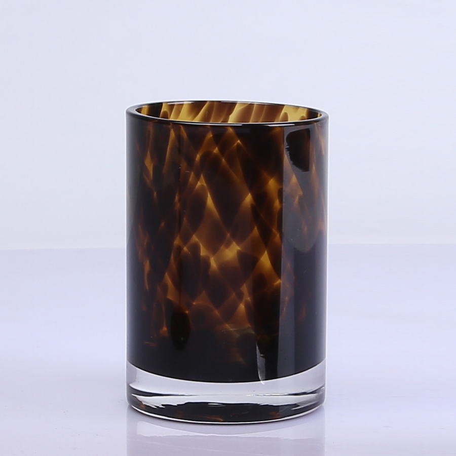 Leopard Amber Stemless Wine Glass