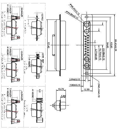 PDC21W4-FXXXX00 Coaxial D-SUB 21W4 FEMALE Solder Cup