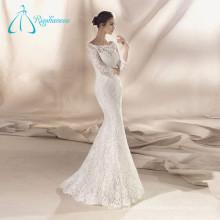 Lace Satin Mermaid Long Sleeve Wedding Dress