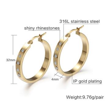 Elegant fashion 18k gold plated women big earring for party jewelry hoop earrings for women crystal europen style