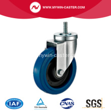85mm Threaded Stem Swivel Blue Elastic Rubber Caster