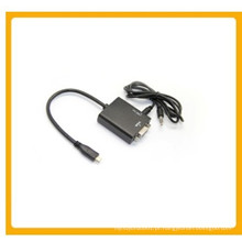 Cabo de áudio micro HDMI para VGA + 3,5 mm