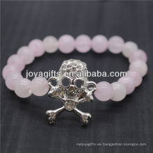 2014 Nuevo Diseño Piedra Natural Piedra Rosa Cuarzo Con Diamante Cráneo Pulsera