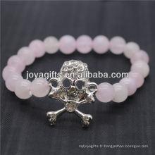 2014 Nouveau motif en pierres naturelles Rose Quartz avec bracelet en crâne Diamante