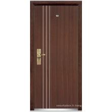 Porte blindée en bois en acier / porte blindée en acier en acier (YF-G9010)