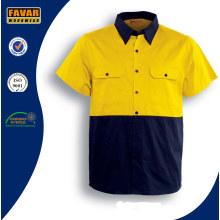 100% хлопок короткий рукав-Привет-Vis саржевого безопасности работы рубашка