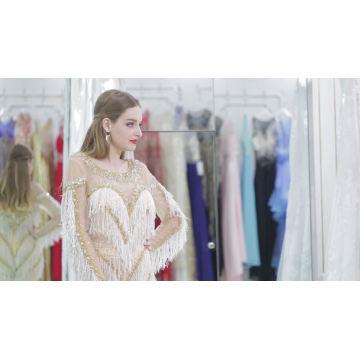 Langarm Perlen Champagner Farbe Spielanzug Stil koreanische Abendkleid