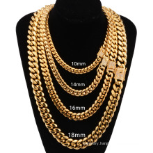 6mm-18mm Hot Sale Hip Hop Necklace Factory Golde Plated Stainless Steel Jewelry Cuban Chain With White Diamond Buckle Necklace