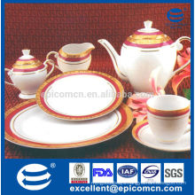 royal gold and red color decal dinnerware with porcelain tea set with tea pot, creamer and sugar pot