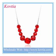 Alibaba bijoux à la mode bijoux en cristal rouge perle pendentif en argent