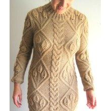 Handmade Hand Knit Women Ladies Warm Wool Evening Winter Dress