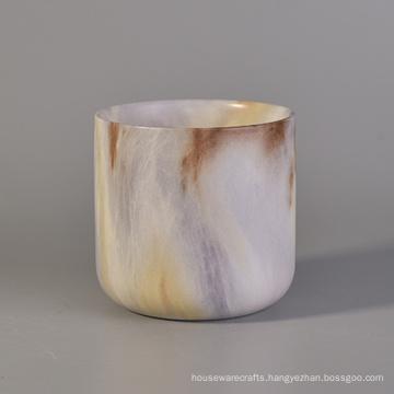 Natural Marble Finish Ceramic Candle Jar