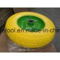 Heavy Duty Wheelbarrow 3.50-8 Ruedas amarillas de PU con borde de metal