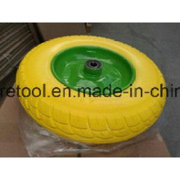 Heavy Duty Wheelbarrow 3.50-8 Yellow PU Wheels with Metal Rim