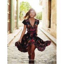 Women's Bohemian printed floral fashion retro V-neck dress in stock