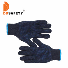 Navy Blue Cotton Knitted PVC Dots Constrution Factory Tools Safety Garden Gloves to Protect Algodon En Hilo