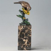 Animal Bronze Sculpture Bird Flower Birdle Carving Deco Brass Statue Tpal-298