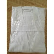 100%cotton waffle Kimono Collar White Bathrobe