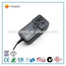 Adaptador de alimentação intercambiável 12v 2.5a para câmera cctv leve