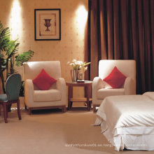 Silla del dormitorio del hotel de la silla del ocio de la madera y de la tela (EMT-A0689A)